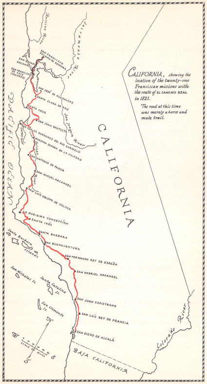 Missions Route in 1821