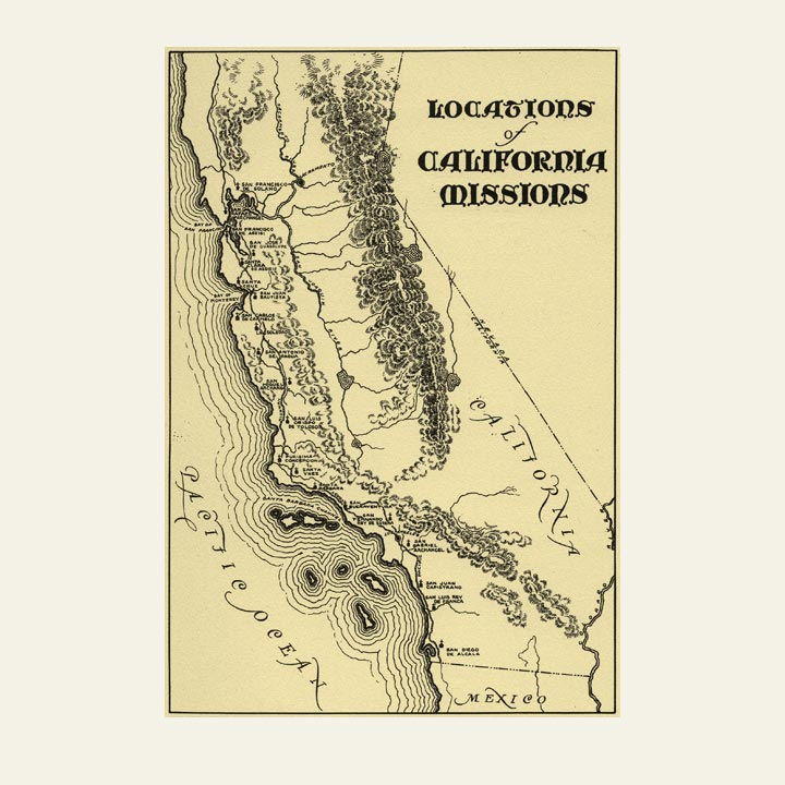California Missions Map Poster