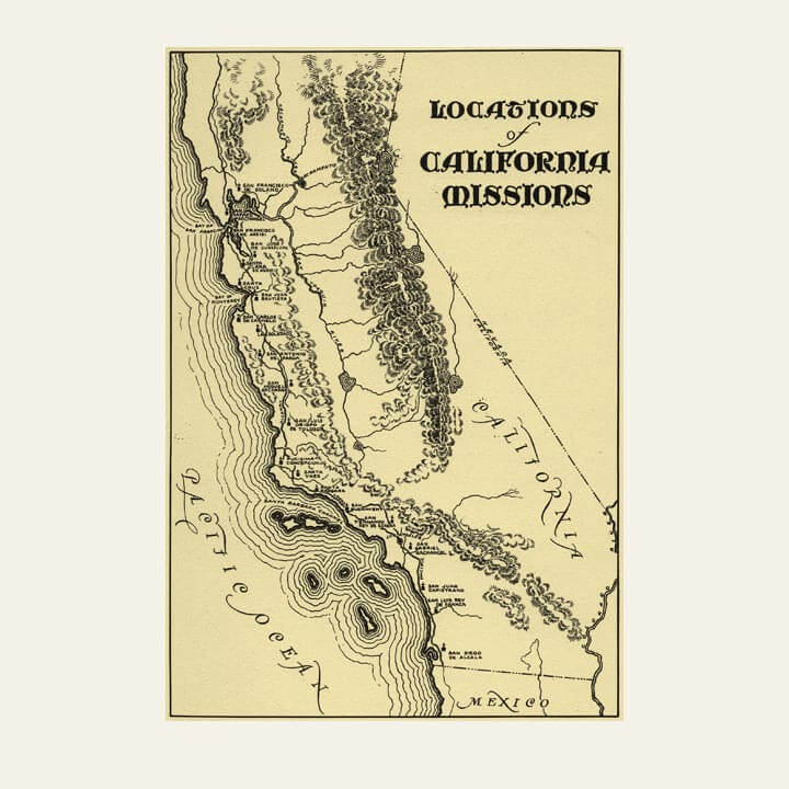 old map of california missions trail