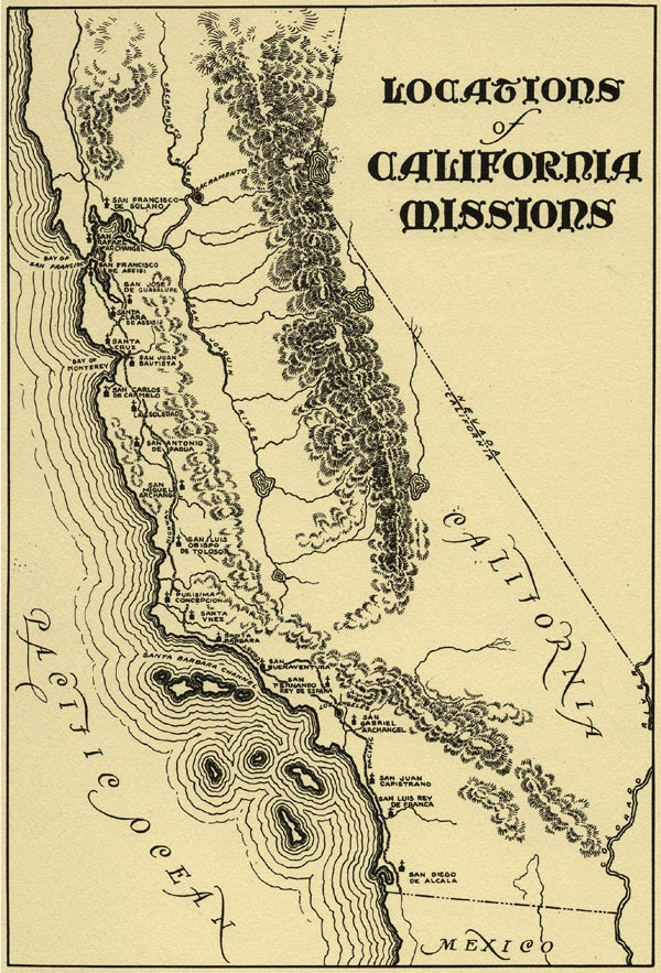 Old California Missions Trail Map